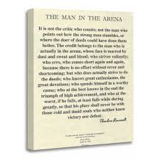 Torass Canvas Wall Art Print Teddy The Man In Arena Quote By Theodore President Artwork For Home Decor 16 X 20