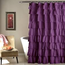purple shower curtains image perfect curtain scheme of gray ruffle purple ruffle shower curtains p58 shower