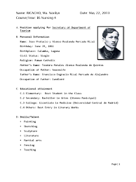 Best Jose Rizal Resume Photos Simple Resume Office Templates 1509911194 Jose  Rizal Resumehtml