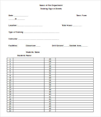 Sample Training Sign In Sheet