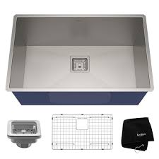 kraus pax zero radius 28 5in 16 gauge undermount single bowl stainless steel kitchen