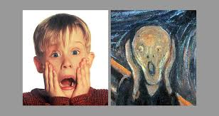 the home alone poster and image of a screaming kevin mcalllister macaulay culkin with his hands on his face was inspired on the famous painting the