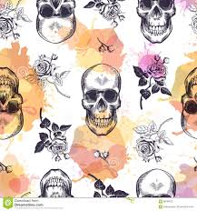 Seamless Pattern With Human Skulls And Roses Drawn In Etching Style