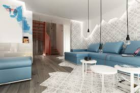 Modern Decor Living Room Blue Brown White Modern Living Room Interior Design Ideas