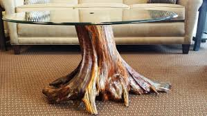 Image of: Tree Trunk Coffee Table With Glass Top