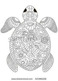 Small Picture Drawing Zentangle Turtle For Coloring Page Shirt Design Effect