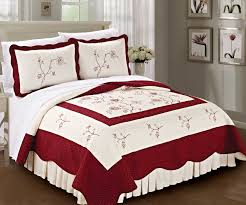A Classic Style With High-End Matierials - Blissful Comforts & Burgundy Classic Embroidered Quilt Bed Spread Adamdwight.com