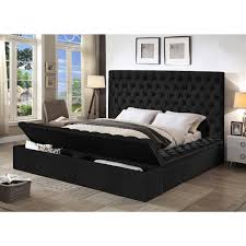 Bliss Queen Bed w/ Storage in Deep Tufted Black Velvet