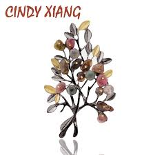 <b>CINDY XIANG Vintage Stone</b> Tree Brooches for Women Large ...