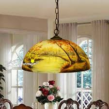 antique hand painted glass shade pendant lighting 8988