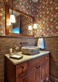 stone vessel sinks powder room traditional with bathroom mirror fl wallpaper freestanding vanity pendant