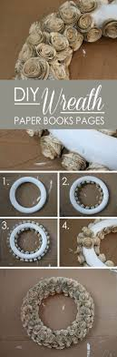 old book page rose bud wreath