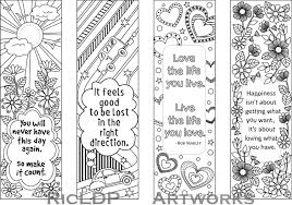 Bookmark Designs To Print Set Of 4 Coloring Bookmarks With Quotes Bookmark Templates