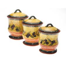 Yellow Kitchen Canister Set Certified International French Olives 3 Piece Storage Jar Set