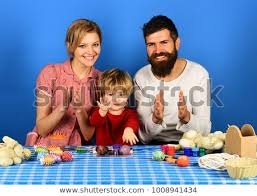Family Prepares Colored Eggs Easter Decorations Stock Photo Edit