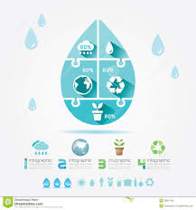 Water Design Elements Ecology Infographic Jigsaw Concept Vector