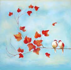 love birds painting love birds sky blue by michal shimoni