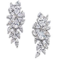 peony fl inspired cubic zirconia bridal earrings