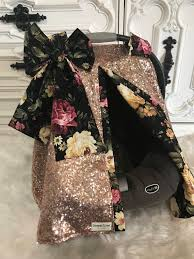 rose gold and fl sparkle car seat