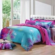 sky blue purple hot pink taraxa dandelion print unique design full queen size bedding purple teal bedding sets for girl