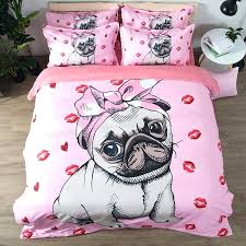 pug bedding set bulldog bedding set pink and white quilt cover with pillowcases cartoon pug dog home textiles for kids 3 lovely bedclothes black duvet cover