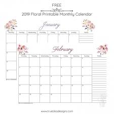 Printable Free Monthly Calendars 2019 Floral Printable Monthly Calendar True Bliss Designs