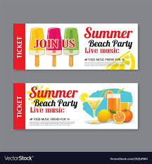 Invitation Ticket Template Summer Beach Party Invitation Ticket Template Vector Image 6