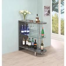 coaster gray contemporary bar unit with glass shelves