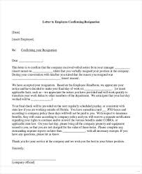 Accepting Resignation Letter Acceptance Of Resignation Letter From