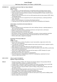 Electrician Cv Maintenance Electrician Resume Samples Velvet Jobs