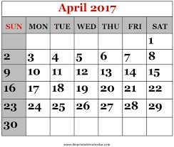 april calendar april 2017 printable calendars