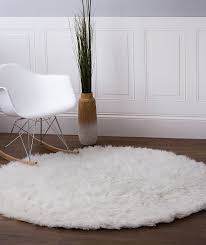 Wonderful White Round Area Rug Amazoncom Handwoven Soft Wool Flokati Shag 5 To Decor