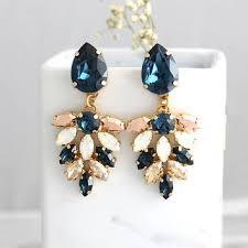 blue navy earrings bridal earrings blue chandeliers blue whit