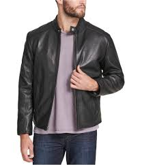 details about marc new york mens leather moto motorcycle jacket black l