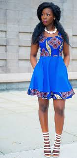 Blue African Dress Designs Ankara Print Spring Dress Blue African Dress Designs