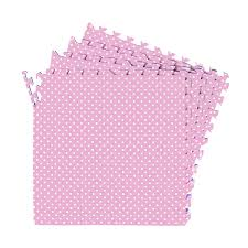 16 sqft pink polka dot excise mat girls favor playmat 4 tile interlocking floor eva foam with 8 border