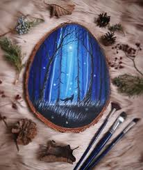 i love to paint on wood pieces found during my forest wanderings