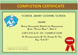 Cooking Certificate Template Fascinating Basic Cooking Class Completion Certificate Cook Certificate