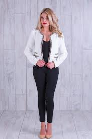 white chanel style jacket front