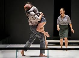 """review a view from the bridge bears witness to the pain of fate  mark strong phoebe fox left and nicola walker in """"a view from the bridge"""" at the lyceum theater credit sara krulwich the new york times"""