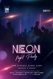 Free Neon Night Party Flyer Template Download Flyer