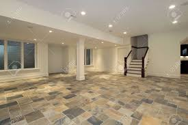 Slate Floors In Kitchen Lower Level With Kitchen And Checkboard Slate Floor Stock Photo