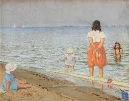 Leonard Patrick | Hilary and the Kids at the Beach (1949) | MutualArt