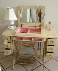 dressing table vanity from repurposed sewing machine cabinet upcycle recycle salvage diy