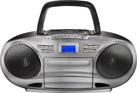 Insignia™ - CD/Cassette Boombox with AM/FM Radio Black/Gray Insignia Black NS-BCDCAS1
