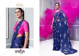 Surat Designer Sarees Online Sva Sasya 9001 9006 Series Georgette Satin Designer Saree