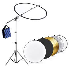 neewer photo studio lighting reflector and boom arm stand kit 23 6 inches 60 centimeters 5 in 1 reflector holding arm 26 75 inches 66 190 centimeters