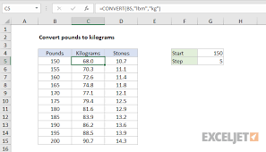Pounds Into Kilograms Conversion Chart Excel Formula Convert Pounds To Kilograms Exceljet