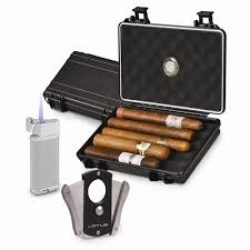 black travel humidor gift set lighter cigar cutter