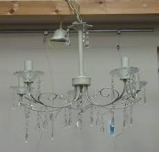 laura ashley painted wirework and glass chandelier centre light fitting with cut glass drops dia